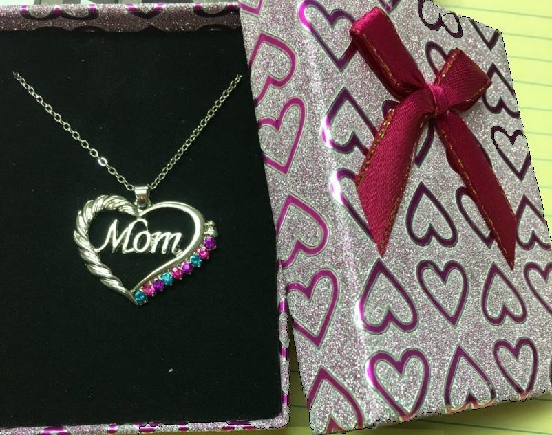Mom Heart Necklace in Bow Box